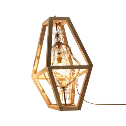 """Mogg """"Crystal"""" - Suspension lamp, resting on the ground, made of Venetian crystal and solid wood. - Made in Italy, Italian design, online shopping, furniture, home decor, interior design, shop now, modern furniture"""
