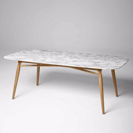 """ALIVAR - Tavolo con struttura in rovere. Piano in marmo o rovere verniciato. - """"Agave"""" (configurabile)"""