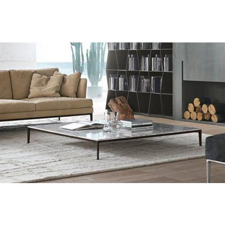 """ALIVAR - Tavolino quadrato con piano in marmo - """"Poggio"""" (varie dimensioni, configurabile)"""