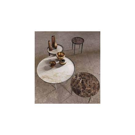 """ALIVAR - Tavolino con struttura in acciaio e piano in marmo - """"Sax"""" (configurabile)"""