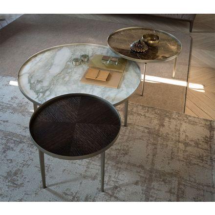"""ALIVAR - Tavolino in alluminio con top in marmo o legno - """"Sirio"""" (configurabile)"""