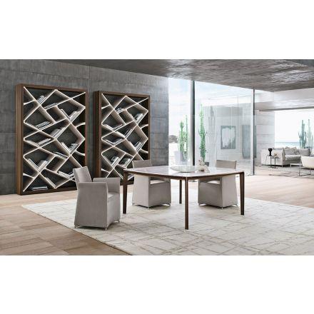 """ALIVAR - Tavolo in massello di rovere e piano in marmo - """"Board"""" (configurabile)"""