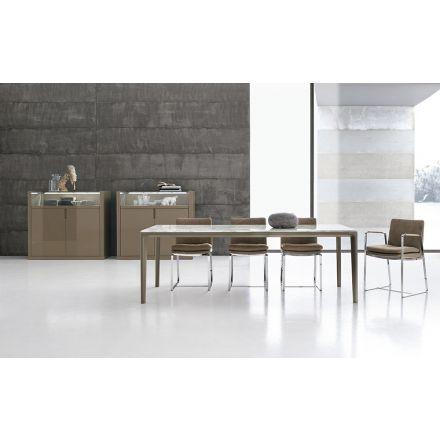 alivar tavolo legno massello massello di rovere marmo design made in italy board tbd150