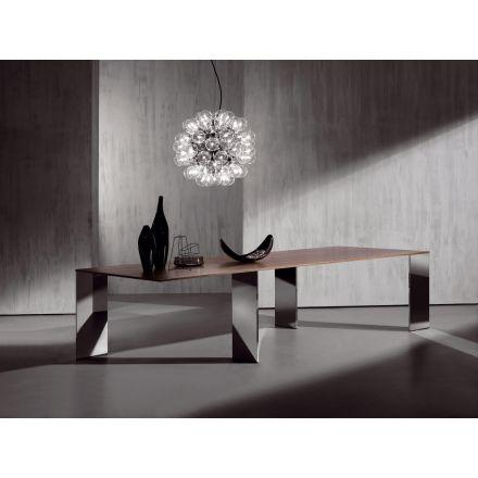 """ACERBIS - Tavolo in legno impiallacciato. Gambe in acciaio inossidabile lucidato a specchio (come da foto). - """"Axis"""""""