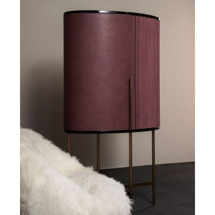 BAXTER Plissé - Bar cabinet covered in leather