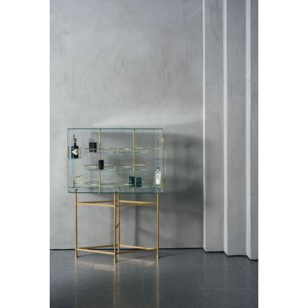 """Baxter """"Float"""" - Glass bar cabinet. Hinges and brass accessories. - italian furnitures on line, modern furnitures on line, home decor, modern furniture shop, luxury home, interior design shop, worldwide shipping furniture, on line furniture store"""