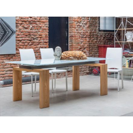 Tonin Casa Brooklyn - Fixed table with glass  top