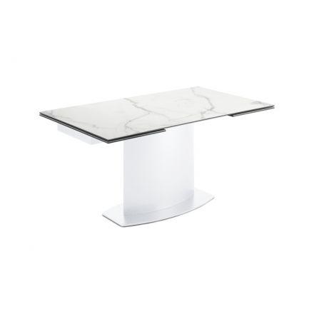 DOMITALIA Discovery - Tavolo allungabile con struttura in legno verniciato | acciaio verniciato con piano in ceramica | vetro
