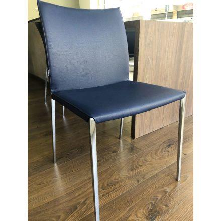 """ZANOTTA - Sedia in alluminio. Rivestimento esterno in pelle ecofire Blu (come da foto). - """"Lia"""" 2087"""
