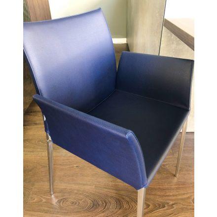 """Zanotta """"Lia 2088""""- Poltroncina in sconto, con struttura in alluminio, rivestimento in pelle ecofire blu. - Made in Italy, design italiano, arredamento on line, home decor, arredamento design, arredamento moderno, arreda la tua casa"""