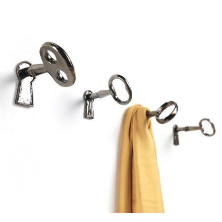 """Mogg """"Memorie"""" - Kit di 4 chiavi appendiabiti in fusione di ottone nichel nero lucido. - Made in Italy, design italiano, shopping on line, arredamento, spedizione gratuita, home decor, design d'interni"""