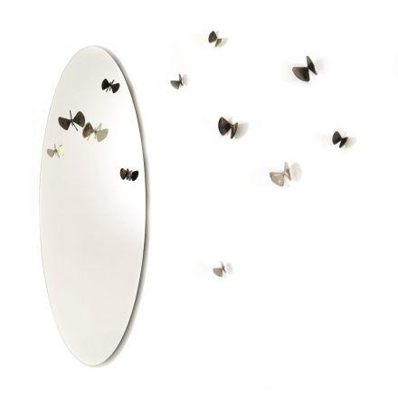 """Mogg """"Bice specchio"""" - Specchio ovale da parete con 5 farfalle appendiabiti in fusione di ottone, disponibili in due versioni. - Made in Italy, design italiano, shopping on line, arredamento, compra subito, spedizione gratuita, interior design"""