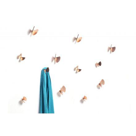 """Mogg """"Bice"""" - Set di 6 farfalle appendiabiti da muro in fusione di ottone con elementi in due diverse dimensioni. Le farfalle sono disponibili con finitura ramata o miste. - Made in Italy, design italiano, shopping on line, arredamento"""