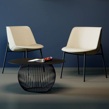 Domitalia Moon-L - Fabric covered chair with wooden structure