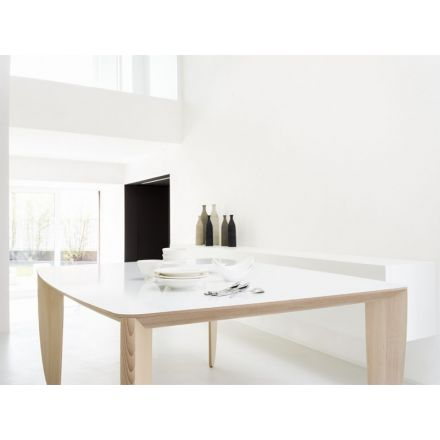 DOMITALIA Tablà-  Tavolo fisso - struttura in legno bianco con piano in vetro | ceramica