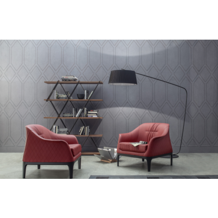 Tonin Casa Tiffany - Small armchair with wooden base and rhombus pattern