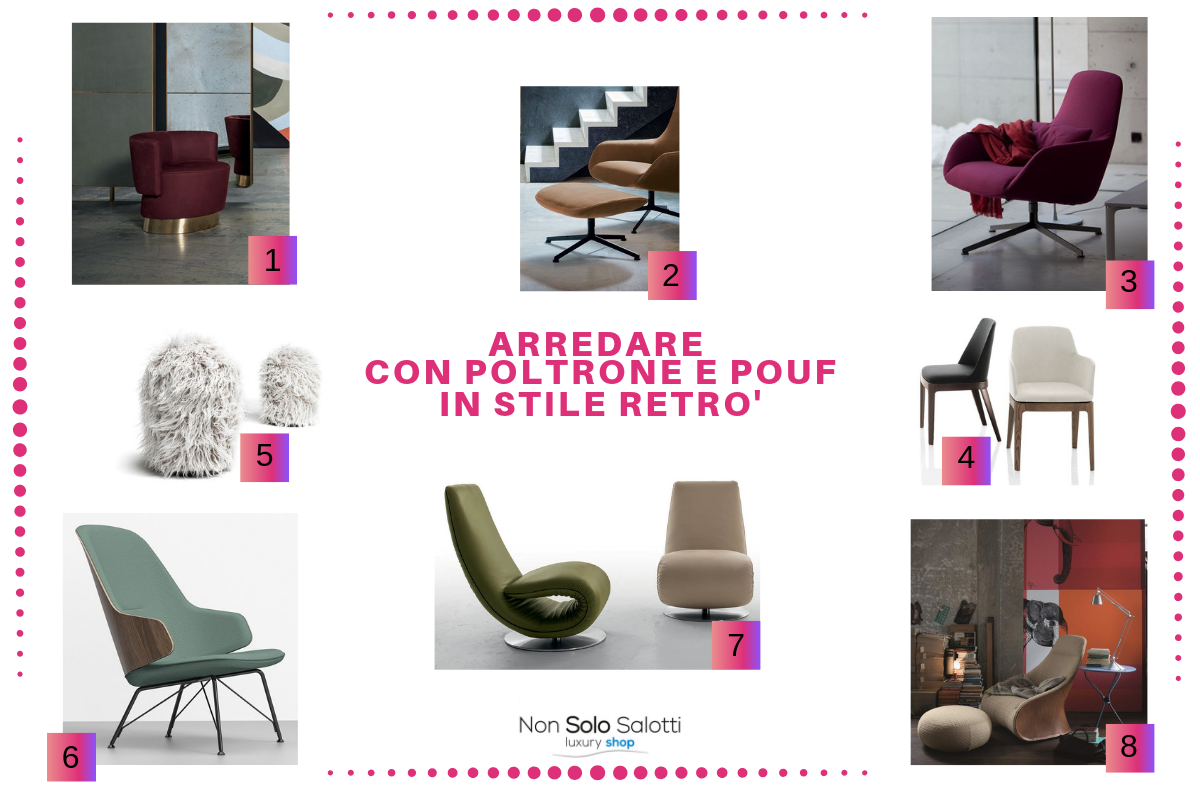Arredo Casa Srl Bari furnishing in retro style. armchairs, chaise longue and